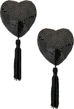 Black Sequin Hearts With Black Tassels in Black.