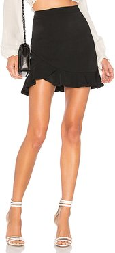 Milan Ruffle Mini Skirt in Black. - size L (also in XS)