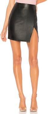 Trinity Faux Leather Skirt in Black. - size L (also in M,XL)