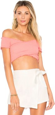 Audrina Smocked Crop Top in Coral. - size XS (also in S,M,L,XL)