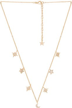 Celestial Stars & Moons Necklace in Metallic Gold.