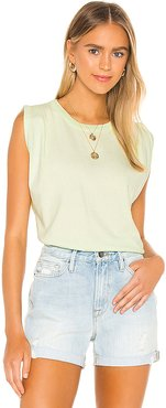 Jordana Rolled Sleeve Tee in Green. - size S (also in L,M,XS)