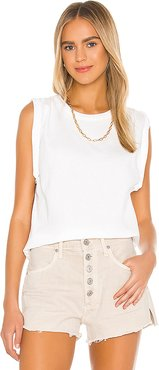 Jordana Rolled Sleeve Tee in White. - size XS (also in M,S)