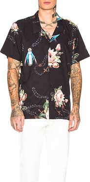 Rosary Short Sleeve Shirt in Black. - size M (also in L)
