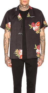 Full Bloom Camp Collar Shirt in Black. - size M (also in L,S)