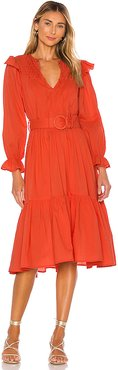 Marseilles Midi Dress in Red. - size XS (also in S,M)