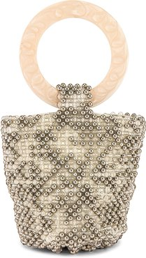 Tanner Party Bag in Ivory,Metallic Silver.