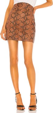 Luana Leather Mini Skirt in Brown. - size XL (also in XS,S,M,L)