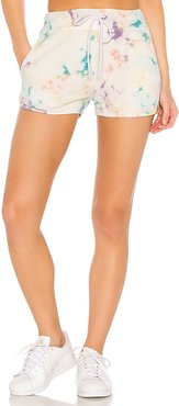 X REVOLVE Spring Bubble Tie Dye Sweat Shorts in Blue. - size S (also in L,M,XS)