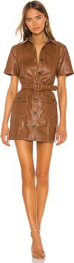 Short Sleeve Button Up Dress in Chocolate. - size XS (also in S,L)
