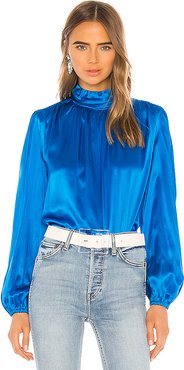 Turtleneck Blouse in Blue. - size XS (also in S,M,L)