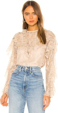 Keyhole Back Ruffle Blouse in Cream. - size L (also in XS,S,M)