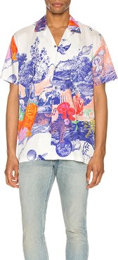 Hawaiian Shirt in White,Blue. - size XL (also in L,M,S,XS)