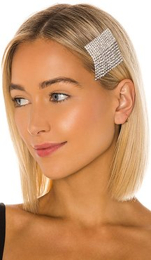 Fringe CZ Barrette in Metallic Silver.