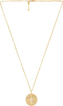 Leo Compass Necklace in Metallic Gold.