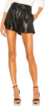 Paperbag Leather Short in Black. - size 27 (also in 24,25,26)