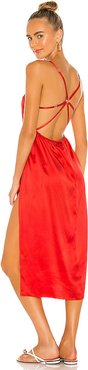 Strappy Back Apron Dress in Red. - size M (also in L,S)