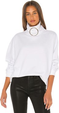 Claudette Ring Mock Neck Sweatshirt in White. - size M (also in XS,S,L)