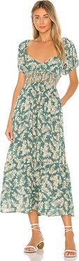 Ellie Printed Maxi Dress in Green. - size L (also in XS,S,M)