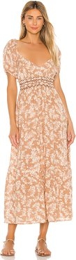 Ellie Printed Maxi Dress in Tan. - size L (also in S,M,XL,XS)