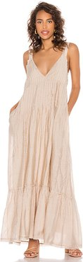 Frankie Pintuck Maxi Dress in Beige. - size M (also in S,XS)