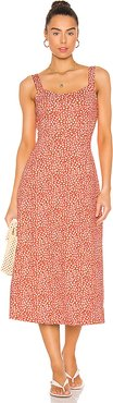 Lorelai Printed Midi Dress in Red. - size S (also in L,XS)