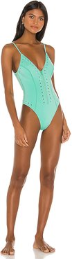 Alexandra One Piece in Green. - size M (also in L,S,XS)