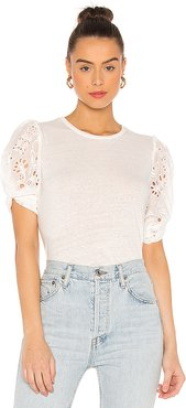 Coco Embroidery Combo Top in White. - size M (also in XS,S,L)