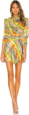 Leona Mini Dress in Green,Orange. - size XL (also in L,M,S,XS,XXS)