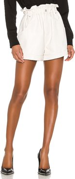 Shea Leather Shorts in White. - size L (also in XXS,XS,S,M)