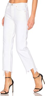 Helena High-Rise Straight Crop Jean in White. - size 28 (also in 27,29,30,31,32)