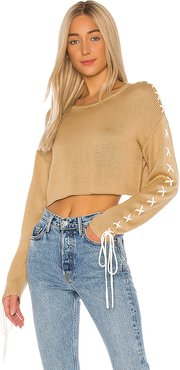 Ronnie Cropped Sweater in Tan. - size L (also in M,XL)