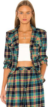 Loren Plaid Jacket in Green. - size XS (also in S,M,XL)