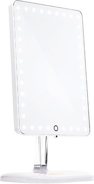 Touch Pro LED Makeup Mirror with Bluetooth in White.