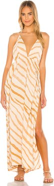 River Triangle Plunge Wrap Skirt Maxi Dress in Tan. - size S/M (also in XS/S,M/L)