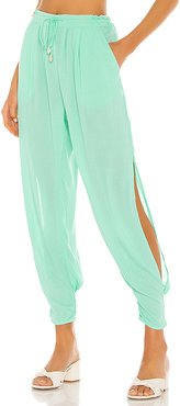 X REVOLVE Alligator Side Slit Pant in Mint. - size M/L (also in S/M,XS/S)