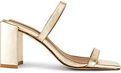 x REVOLVE Square Heel in Metallic Gold. - size 38 (also in 37)