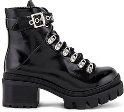 Czech Lug Sole Ankle Tie Boot in Black. - size 10 (also in 6,6.5,7)