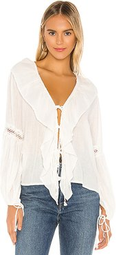 Lupe Ruffle Top in White. - size XS (also in S)