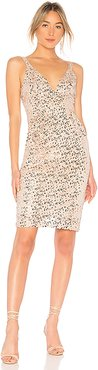 Sequin Midi Dress in Metallic Neutral. - size 0 (also in 4)