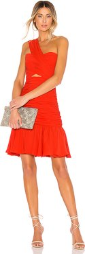 One Shoulder Mini Dress in Red. - size 0 (also in 4)
