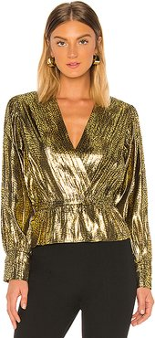 Nadeen Blouse in Metallic Gold. - size M (also in XS,S)