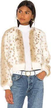 Love Me Faux Fur Bomber Jacket in Ivory. - size XS (also in L,M,S)