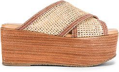 Formentera Cross Over Fishnet Wedge in Tan. - size 8 (also in 7,9,10)