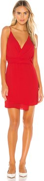 Twist Waist Surplice Mini Dress in Red. - size S (also in XS)