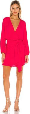 Tie Waist Surplice Mini Dress in Pink. - size XS (also in M,S)