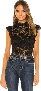 Kassia Ruffle Lace Top in Black. - size L (also in M)