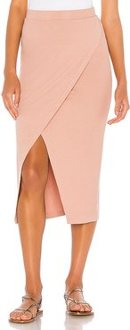 Overlap Midi Skirt in Pink. - size M (also in XS,S,L)