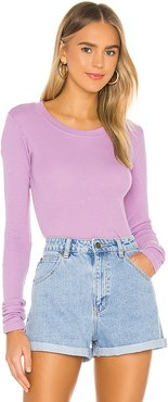 Long Sleeve Thermal Tee in Lavender. - size M (also in S)