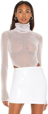 X REVOLVE Mesh Bodysuit in White. - size S (also in XS)